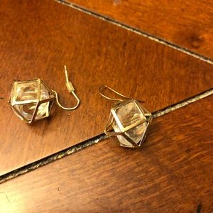 Gold and crystal cage earrings